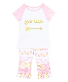 Look what I found on #zulily! Pink 'Fearless' Tee & Capri Pants - Infant, Toddler & Girls #zulilyfinds