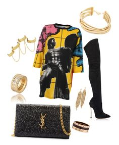 """""""Bad girl rocks it again"""" by jojo-lawler on Polyvore featuring Yves Saint Laurent, Casadei, Moschino, Cartier, House of Harlow 1960, Capwell + Co and BCBGMAXAZRIA"""