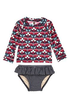 Free shipping and returns on Tea Collection Kaleidoscope Two-Piece Rashguard Swimsuit (Baby Girls) at Nordstrom.com. Mixed prints and ruffle trim make this two-piece rashguard swimsuit a splash-ready style while providing extra sun protection.