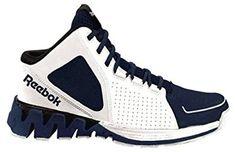 Men s Reebok ZigKick Hoops Basketball Shoe Zig Sole Mid White Navy Blue and  Black Review Adidas 8dd17b1b1