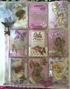 Purple pocket letter, pals, snailmail, snail, mail, design, love, things, plastic sleeves, outgoing, cards, atc, angels, cupids, create