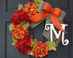 BEST SELLING Fall Grapevine Wreath with Burlap. by WreathDreams