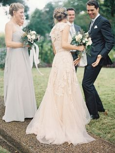 Buy Canada Champagne Tulle with Appliques Lace V-neck Unique Wedding Dresses at pickeddresses.com