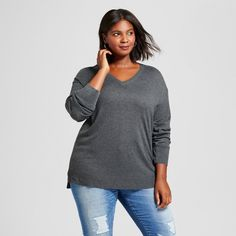 Women's Plus Size V-Neck Pullover - A New Day™ at Target. Affiliate link.