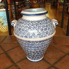 Bianco e Blu Handmade Tuscan Italian Ceramic Urn - This intricate handmade and hand painted Italian pottery urn offers a brilliant sample of traditional Italian ceramic artwork. Place in any room or on any patio to add an Italian flair to your atmosphere. Found at the Italian Pottery Outlet in Santa Barbara, CA.