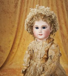 The Empress and the Child - Antique Dolls:  Bisque Bebe by Schmitt et Fils in Antique Lace and Silk Costume