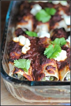 Roasted zucchini, black bean and goat cheese enchiladas.  Vegetarian!
