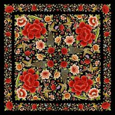 Manton de manila Mexican Fabric, Mexican Textiles, Dark Red Roses, Quince Decorations, Chinese Patterns, Silk Shawl, China Fashion, Flower Art, Art Flowers