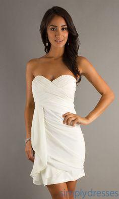 Short White Strapless Sweetheart $90.. cute rehearsal dinner dress