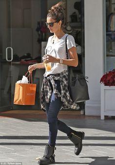 Alessandra Ambrosio wearing Mansur Gavriel Bucket Bag Lulu*s Not Half Plaid top