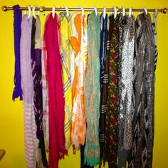 I didn't even realize how big of a scarf problem I have until I hung them all up. Still, glad to be a little more organized.