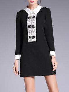 Black Shirt Collar A-line Long Sleeve Beaded Mini Dress