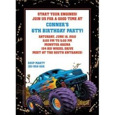 Check out Monster Truck Personalized Invitation (each) - Wholesale Party…