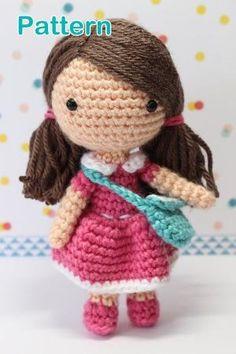 Crochet Amigurumi Cute Girl Candy Dolls PDF Pattern Stuffed Toy Gift Kawaii pink dress handbag by maryann maltby
