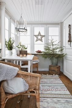 We could do this with our front terrace of the summer house. Paint it white, insulate the floor and make it a beautiful veranda room. From the blog Nordingården