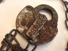 Vintage ICRR Illinois Central Railroad Adlake Lock and Chain NO Key #railroad #adlake #illinoiscentral