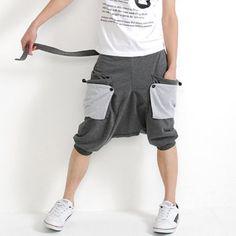 "Men Hip Hop Dancing Trousers Pants Casual Harem Sports Jogging Shorts (Waist 28""-30"", Grey) Magiftbox"