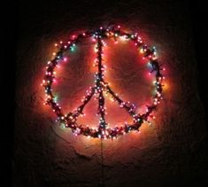 Lighted peace sign ❤ which could be done in my pretty pastel candy lights ~ how beautiful that would be!!