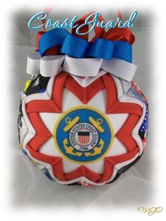 Quilted Ornament Coast Guard Handmade by missjoysornaments on Etsy Quilted Christmas Ornaments, Fabric Ornaments, Handmade Ornaments, Ball Ornaments, Christmas Crafts, Merry Christmas, Coast Guard Auxiliary, Flag Quilt, Independance Day