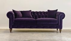 Rolled Arm #Chesterfield sofa with tufted back in rich purple. Beautiful.