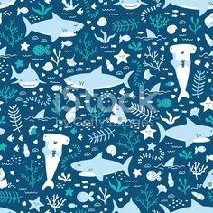 Draw Sharks Vector seamless underwater pattern with cute sharks - Illustration by ARCANA_design on iStock - sea life, sea creatures Cute Shark, Cute Fish, Shark Shower Curtain, Shower Curtains, Shark Illustration, Happy Shark, Les Cascades, Shark Week, Surface Pattern Design