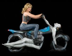 Human Motorcycle Made by Painted Yoga Experts