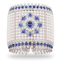 Faberge sapphire and pearl bracelet