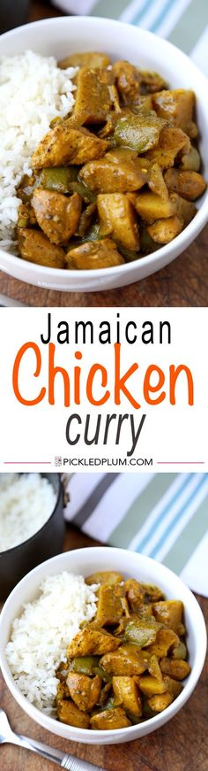 Easy Jamaican Chicken Curry - Hot and Spicy! Easy curry recipe with assertive flavors. Recipe, easy, dinner, chicken, gluten free | pickledplum.com