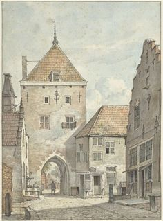 De Landpoort van de stadszijde door Gerrit Lamberts (1786 - 1850), links de Grote kerk, ca. 1840