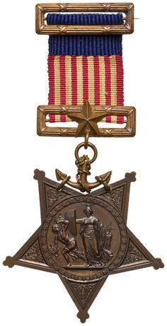 Navy Medal of Honor, Type 1, authorized in 1862; awarded to enlisted men for gallantry and meritorious service.
