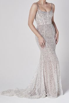Chosen's breathtaking bespoke beading embellishment in a completely new silhouette, this is our 'Muse' gown. With a corseted bodice, and fit and flare skirt, Dream Wedding Dresses, Designer Wedding Dresses, One Day Bridal, Bridal Gallery, Fit And Flare Skirt, Gowns Online, Bridal Looks, Sequin Dress, Bridal Collection