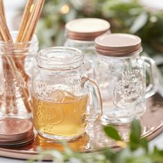 Mini Mason Rose Gold Glass Jars - Beautiful Botanics