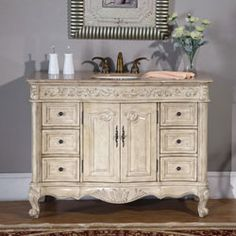 Merveilleux Distressed Bathroom Vanity, Antique Bathroom Vanities, White Vanity Bathroom,  Vintage Bathrooms, Bathroom