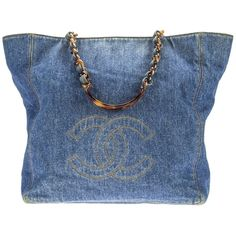 Pre-owned Denim Blue Chanel Tote ($2,013) ❤ liked on Polyvore