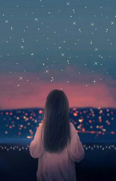 Night Sky Wallpaper, Scenery Wallpaper, Aesthetic Pastel Wallpaper, Wallpaper Pictures, Girly Pictures, Beautiful Pictures, Lovely Girl Image, Cute Girl Drawing, Cute Couple Art