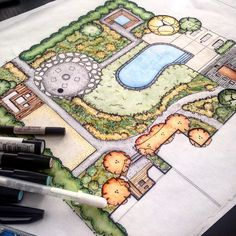 Pin by Liz Solomon on landscape inspiration Landscape Architecture Drawing, Landscape Sketch, Landscape Drawings, Architecture Plan, Raised Bed Garden Design, Garden Design Plans, Landscape Design Plans, Plan Design, Garden Drawing
