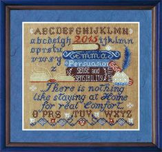 Tempting Tangles Persuasion - Cross Stitch Pattern. There is nothing like staying at home for real comfort. Emma, Persuasion, Sense and Sensibility. Stitch Coun