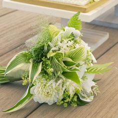 Bright Bouquets for Every Type of Bride   Martha Stewart Weddings - Lady Slipper, Astilbe, and Dahlia