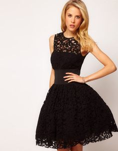 ShopStyle: ASOS Prom Dress in Lace With Elastic Waist