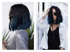 new Ideas for hair short bangs beauty secrets Short Blue Hair, Dark Blue Hair, Blue Ombre Hair, Cut My Hair, Hair Cuts, Medium Hair Styles, Curly Hair Styles, Shoulder Length Hair, Hair Color Balayage