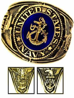 Navy Ring - 18K Heavy Gold Electroplated Ring with Stone - Navy Military Ring - USN Navy Seals - for Military gear Navy Uniform Veteran Ring. Rush Industries. $44.95