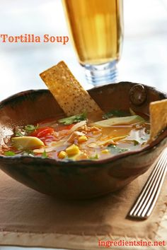 If you have any leftover turkey from Thanksgiving, I have a great recipe idea. This Tortilla Soup recipe is my newest favorite, and it's a perfect way to use up your turkey leftovers. I served it tonight, and I couldn't stop eating it. If you don't have any turkey leftovers, feel free to use cooked chicken (or a rotisserie chicken is perfect if you're in a hurry).