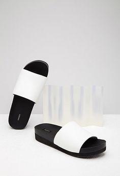Faux Leather Platform Slides | Forever 21 - 2002247097