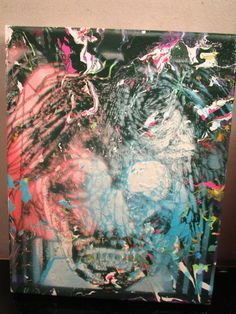 abstract painting canvas signed by artist musk~yai 8x10 of andy warhol zombie #Abstract