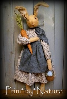 Primitive Easter Bunny Rabbit Greeter with Carrot Easter Egg and Basket. Please visit me @  primbynature.com