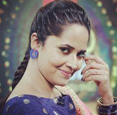 Anasuya Bharadwaj Pearl Earrings, Hoop Earrings, South Actress, Tamil Actress, Actresses, Poses, Photo And Video, Hair Styles, Face