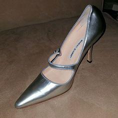 Silver Manolo Blahnik Mary Janes - Rare!