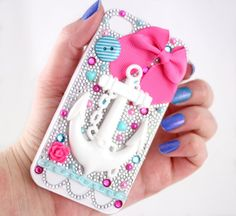 Anchor Decoden iPhone 4 Case  Blue/Pink by ColorMeKawaii on Etsy