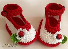 Crochet pattern baby booties - Ladybug ankle strap - Permission to sell finished items. Full of large pictures! Pattern No. 104