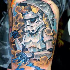 Stormtrooper in the rain.